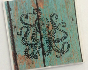 Turquoise Octopus Ceramic Tile Coasters- Octopus Drink Coasters