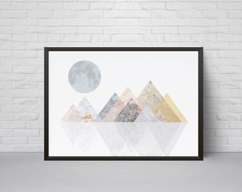 Geometric Mountain Wall Art Print, Printable Art, Mid Century Modern Geometric Art, Wall Decor, Abstract Art Print, Scandinavian Art