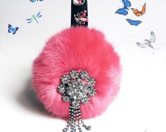 Dark Pink ear muffs, embellished baroque faux fur ear warmers, plush earmuffs, fluffy earmuffs,