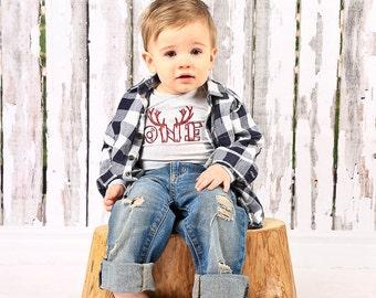 Woodland Birthday Boy Outfit, DIY, Iron On Transfer First 1st Boy Birthday Shirt, Lumberjack, Woodland Birthday Party, One Woodland Birthday
