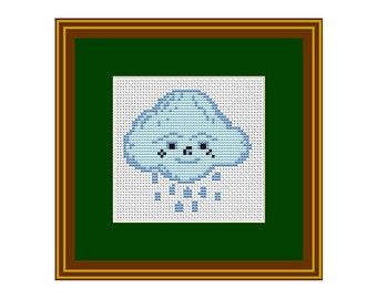 Rainy Cloud Counted Cross Stitch Pattern. Pattern. PDF Instant Download. Cross Stitch Pattern Cloud