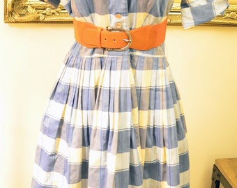 Plaid 50's full skirt vintage dress * Blue and white , so cute! * Size S/M