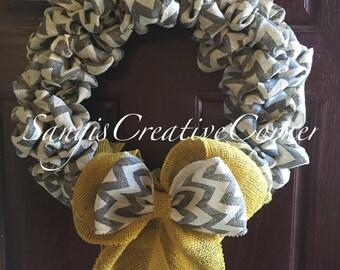 Everyday Wreath, Year round wreath, Burlap wreath, Chevron wreath, Wreath, Front door wreath, Spring wreath, Summer wreath, Daily wreath