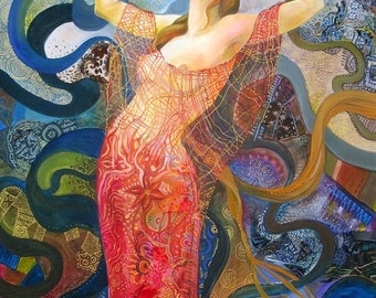 Rages, Original oil and textile painting, Secession, Art Nouveau, Modern, FREE SHIPPING