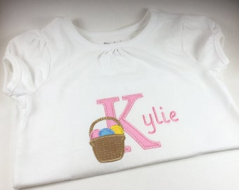Personalized Easter Basket Shirt, Monogrammed Easter Basket Shirt, Embroidered Easter Basket Shirt, Girl Easter Basket Shirt