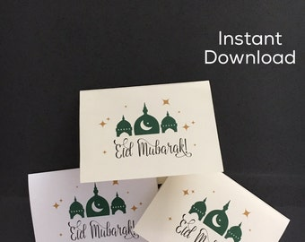 Printable Eid Mubarak Card; Digital Download Eid Mubarak Card; Modern Eid Card