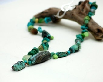 Turquoise Statement Necklace Multi Genuine Stone Neck Piece Gemstones Unusual Beads Vintage Beads One Of A Kind Stone Jewelry