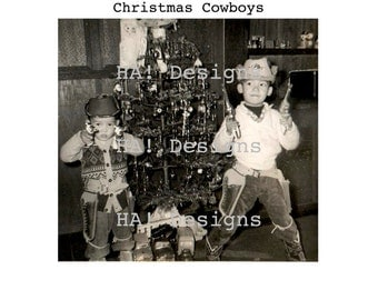Vintage Photo - Christmas Cowboys - Instant Download