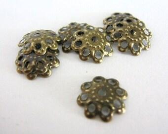 10mm Bead Caps Filigree Antique Bronze Flower Beadcaps Nickel Free 50pcs