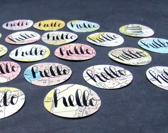 vintage atlas hello stickers, 20 Handwritten Calligraphy Stickers, Hand Lettered Envelope Seals