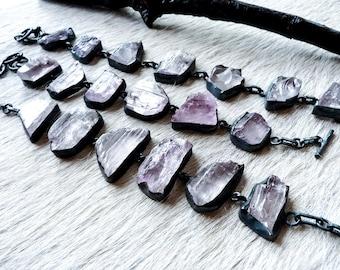 SEMI-ANNUAL SALE Kunzite bracelet | Raw Kunzite bracelet | Pink kunzite bracelet | Crystal bracelet | Rough kunzite stone bracelet