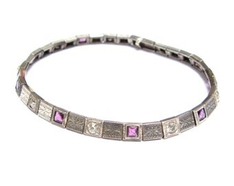 "ANTIQUE Edwardian ART Deco BRACELET Vintage Sterling Silver Rhinestone Amethyst 7.5"" Delicate Link 1910s 1920s Old Jewelry Fine"