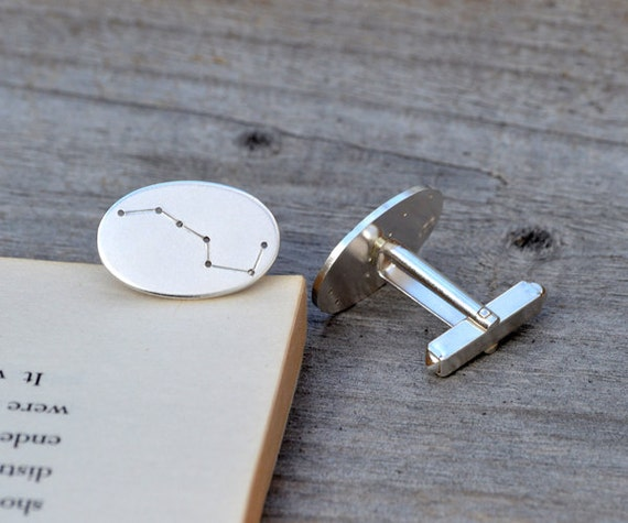 Big Dipper cufflinks, asterism cufflinks in sterling silver