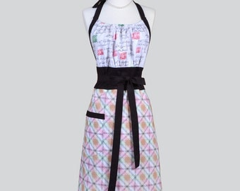 Cute Kitsch Womens Apron . Anniversary Love Letters Postage Stamp with Plaid Retro Vintage Style Kitchen Cooking Apron with Pockets