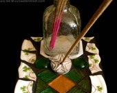 luck of the Irish,mosaic tile,incense holder,recycled art,found object art and funky decor