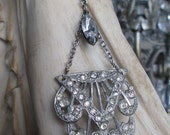 NECKLACE - vintage rhinestone dress clip assemblage art deco victorian hand lariat silver toned paste, the french circus by robyn parrish