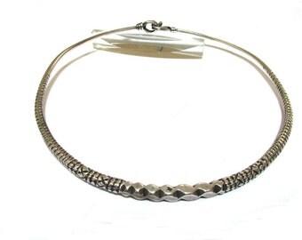 "Vintage Indian Torque, 46cm (18""), Solid High Grade Silver, Indian Choker Neckring, Hansuli, Rajasthani Silver Neck Ring, Flexible, 74 Grams"