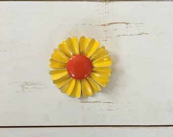 Vintage 60s Brooch/ 1960s Enamel Brooch/ Yellow Flower Enamel Brooch with Bright Orange Center