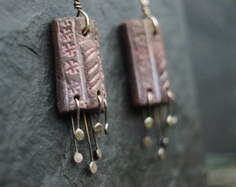 Home and Hearth -  Primitive Anglo-Saxon, wood-fired ceramic and sterling silver earrings