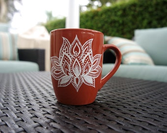 Burnt Orange and White Lotus Flower Mug