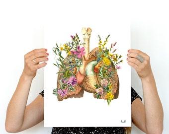 Flowery Lungs Human Anatomy print A3 poster- Anatomical art prints wall art PWS168