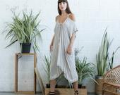 Cold shoulder cotton dress, midi off shoulder dress, open shoulder midi dress, ivory midi dress.