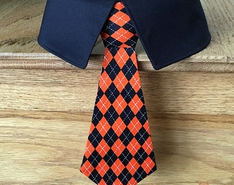 Halloween Dog Tie and Shirt Collar with Orange and Black Diamonds