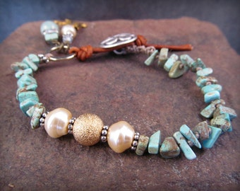 Knotted Bracelet, pearls, turquoise, stardust pave gold, boho, luxe, rustic country chic