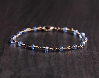 Blue Kyanite Bracelet, Blue Stone Jewelry, bronze wire wrapped jewelry, dainty bracelet