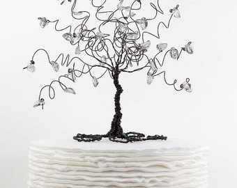 Wire Tree Wedding Cake Topper Glass Leaves Tree of Life