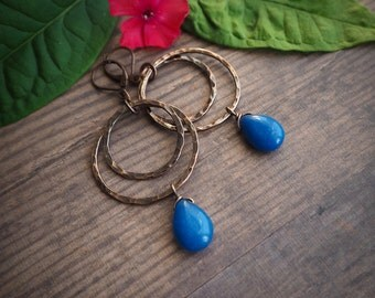 navy blue boho style copper hoop earrings, rustic style, jade, dangle earrings, hippie style, gift for her, summer jewelry, colorful