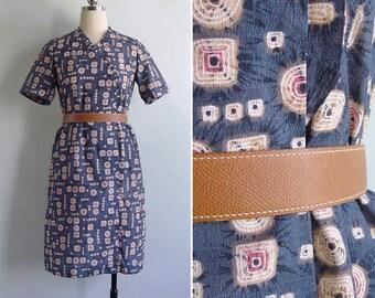 Vintage 70's Japanese Shibori Tie Dye Print Blue Ruffled Dress XS or S