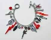 Charm Bracelet, red and black charm collection, rock 'n' roll jewelry