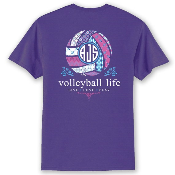 Official tm volleyball life blue custom monogram t shirt for Life is good volleyball t shirt