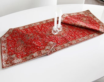 Red traditional table runner- handmade runner for table - Persian Termeh silk woven decorative tablecloth