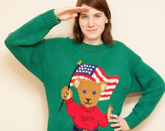 Vintage 90s Teddy Bear Patriotic Flag Sweater by The Limited / Fourth of July / Tacky Sweater / Oversized Sweater / Size XL