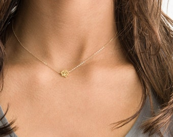 Delicate Lotus Necklace / Dainty Gold Necklace Layering Collar Necklace on 14k Gold Fill or Sterling Silver Chain / Layered and Long LN302