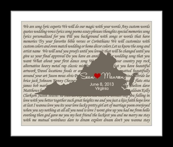 First Dance Song Lyric Personalized Wedding Gift Any State