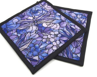 Quilted Pot Holders, Fabric Hot Pads - Purple Kitchen, Pair of 2 Dragonfly Potholders, Flower Pot Holder