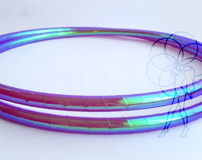 """HDPE Hula Hoop 3/4"""" or 5/8"""" // Color Shifting Electric Jellyfish Taped // Collapsable for Travel with Push Pin Lock"""