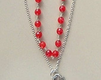 Valentine's Red Jade and  Sterling Silver Layered Lock Heart Necklace