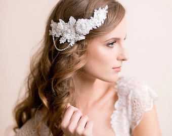 Bridal Lace Headpiece with Rhinestone - Wedding Headpiece - Lace Applique - Bridal Hairpiece - Floral Hair Piece - Ivory Hair Accessory