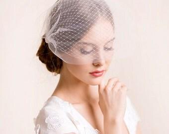 Bridal Birdcage Veil Double - Bandeau Style Double Birdcage Veil - Bridal Blusher Veil - Wedding Birdcage Veil - Ivory, soft white, white