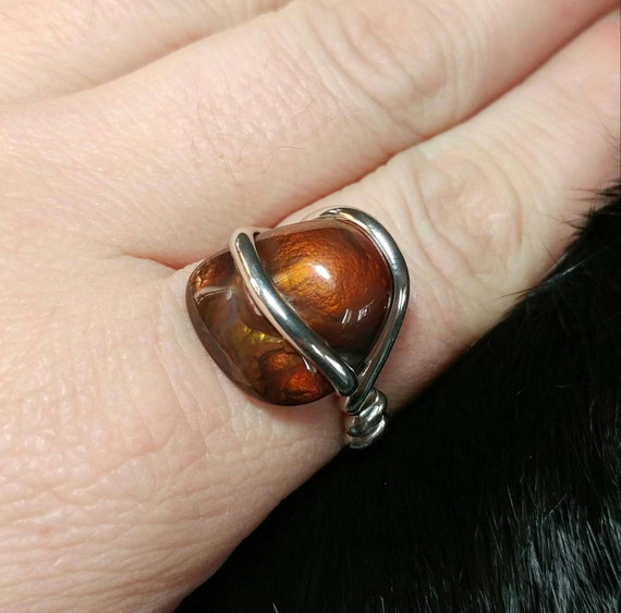 Rare Gemstone Ring | Fire Agate Ring | Handmade Sterling Silver Ring Sz 10 | Mexican Fire Agate Ring | Fire Agate Jewelry | Men's Ring