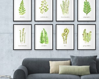 Fern watercolor painting, Botanical print, Fern print set of 8, Leaf art print sets, Green spring wall decor, Leaves print, Living room art