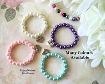 Pearl Bracelet-Flower Girl Bracelet-Flower Girl Gift-Flower Girl Jewelry-Girl Bracelet-Junior Bridesmade-Glass Pearl Flower Girl Bracelet