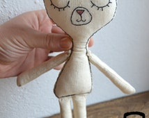Cat plush/ Embroidered Stuffed toy/Gift for baby/ Ecofriendly cotton/ Baby shower gift / Ready to ship OOAK