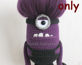 Scary cute violet monster, amigurumi crochet pattern