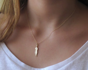 Gold Feather Necklace , 14K Gold Filled Feather Necklace ,  Bridesmaids Necklace , festival necklace , boho necklace , tribal necklace