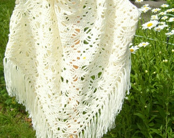 CROCHET cream shawl fringe/boho wedding shawl/Spider web stitch Crochet/cream shawl/triangle wrap/ivory shawl/Mother's Day gift/gift her